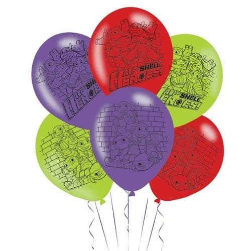 """Half Shell Heroes 4 Sided Latex Balloons Packet of 6 x 11"""""""
