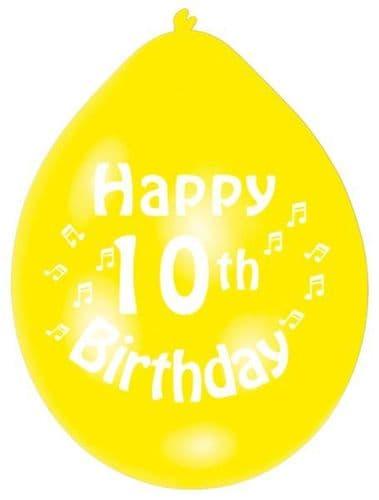 Happy 10th Birthday Latex Balloons 10 per pack.