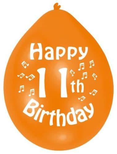 Happy 11th Birthday Latex Balloons 10 per pack.