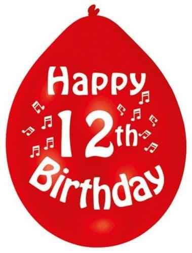 Happy 12th Birthday Latex Balloons 10 per pack.