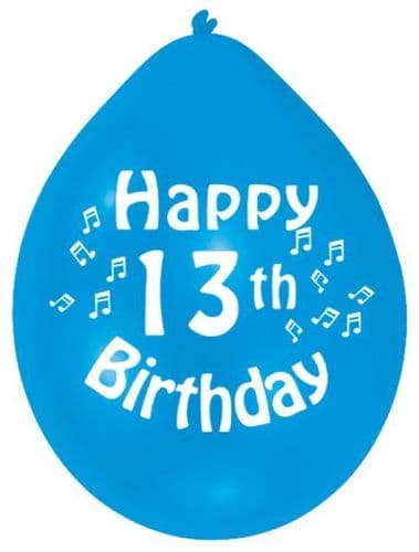 Happy 13th Birthday Latex Balloons 10 per pack.
