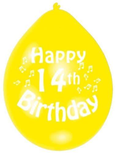 Happy 14th Birthday Latex Balloons 10 per pack.