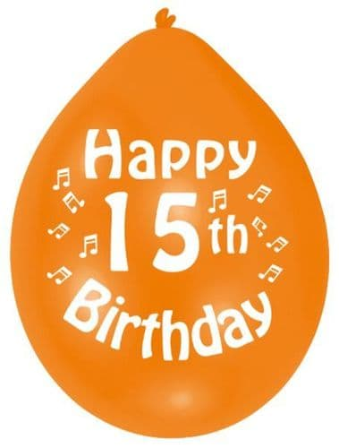 Happy 15th Birthday Latex Balloons 10 per pack.