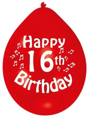 Happy 16th Birthday Latex Balloons 10 per pack.