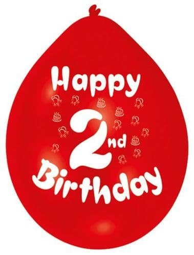 Happy 2nd Birthday Latex Balloons 10 per pack.