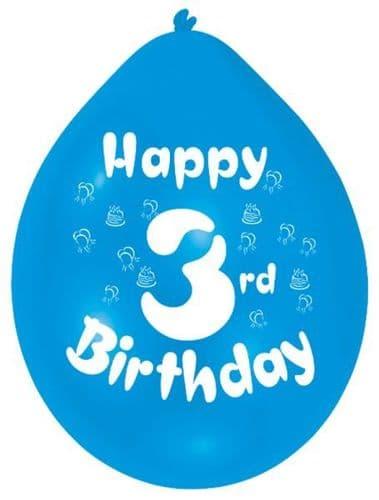 Happy 3rd Birthday Latex Balloons 10 per pack.
