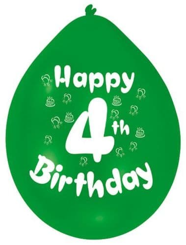 Happy 4th Birthday Latex Balloons 10 per pack.