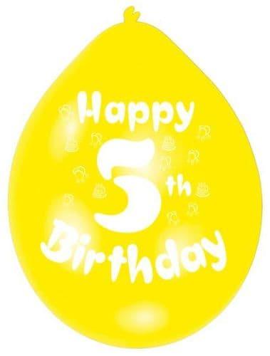 Happy 5th Birthday Latex Balloons 10 per pack.