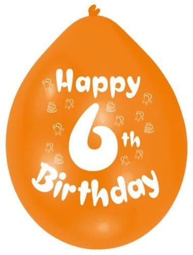 Happy 6th Birthday Latex Balloons 10 per pack.