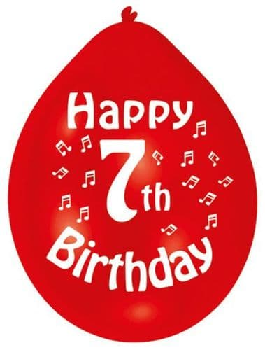 Happy 7th Birthday Latex Balloons 10 per pack.