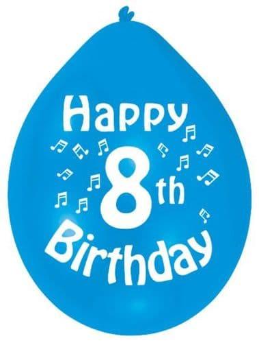 Happy 8th Birthday Latex Balloons 10 per pack.