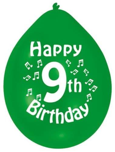 Happy 9th Birthday Latex Balloons 10 per pack.