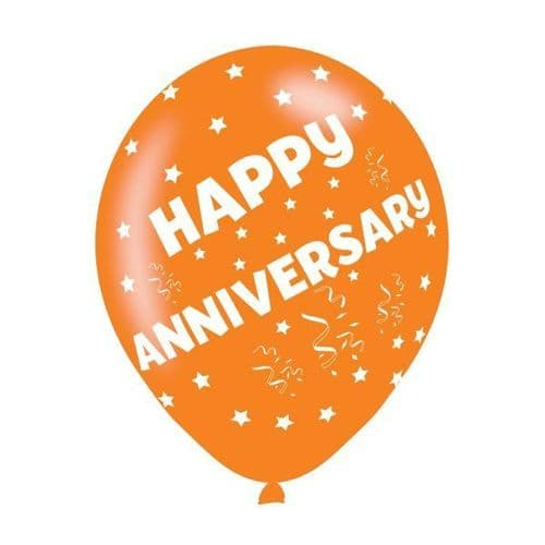 """Happy Anniversary Assorted Colours Latex Balloons 11"""" packet of 6"""