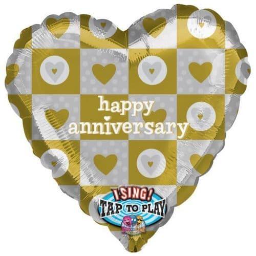 "Happy Anniversary Baby Jumbo Sing-A-Tune Foil Balloons 29"""