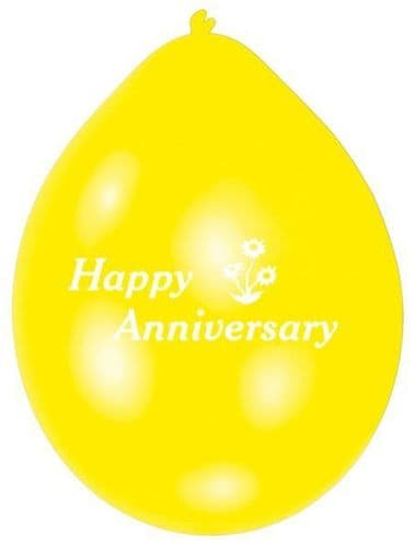 Happy Anniversary Latex Balloons - Assorted Colours