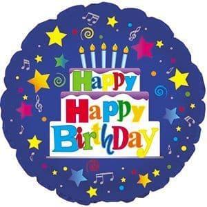 Happy Birthday Blue Foil Balloon