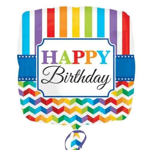 Happy Birthday Bright Stripe & Chevron  Standard Foil Balloon