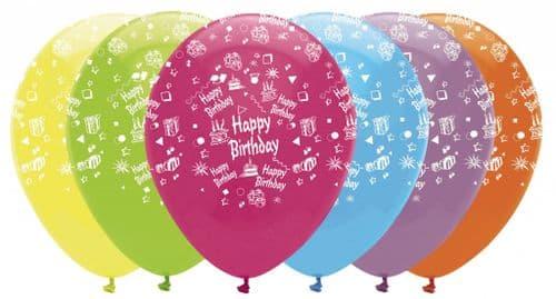 "Happy Birthday Bright's Mix Latex Balloons All Round Print 6 x 12"" per pack"