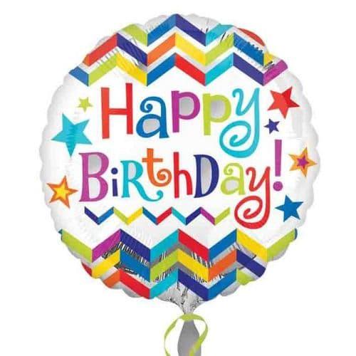 Happy Birthday Chevron Star Standard Foil Balloon