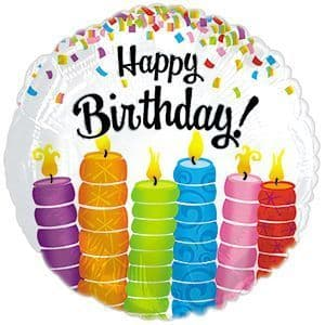 Happy Birthday Colourful Candles Foil Balloon