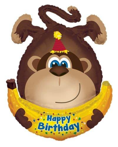 Happy Birthday Monkey with Banana Shaped Foil Balloon
