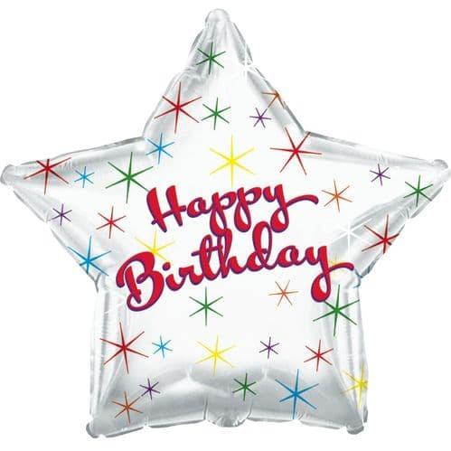Happy Birthday Multi Colour Sparkles Foil Balloon