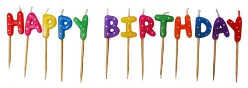 Happy Birthday Pick Candles Polka Stars