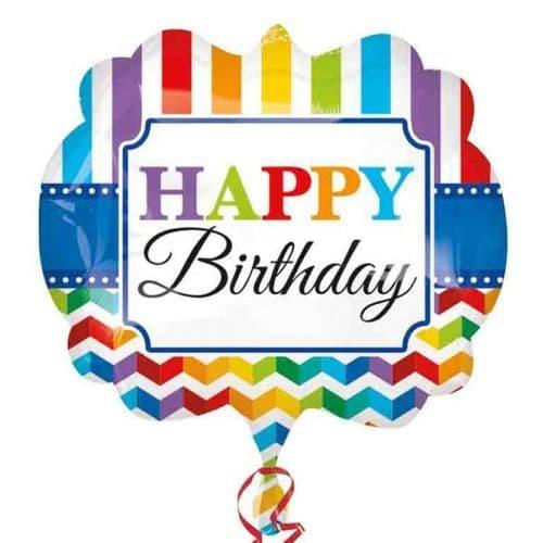 "Happy Birthday Stripe & Chevron SuperShape Foil Balloons 25"""