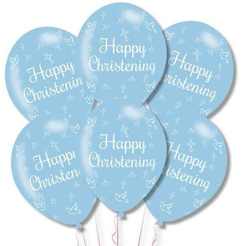 """Happy Christening Blue Latex Balloons 11"""" packet of 6"""