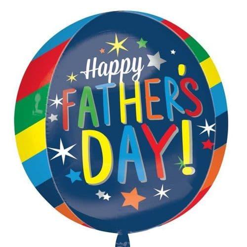 "Happy Father's Day Bright Stripes Orbz Foil Balloon 15"" x 16"""