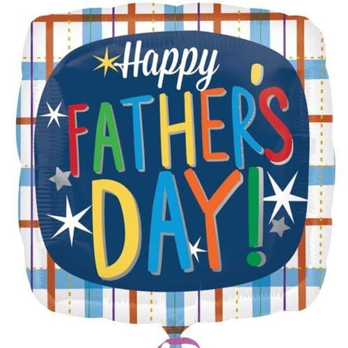 Happy Father's Day Plaid Foil Balloon