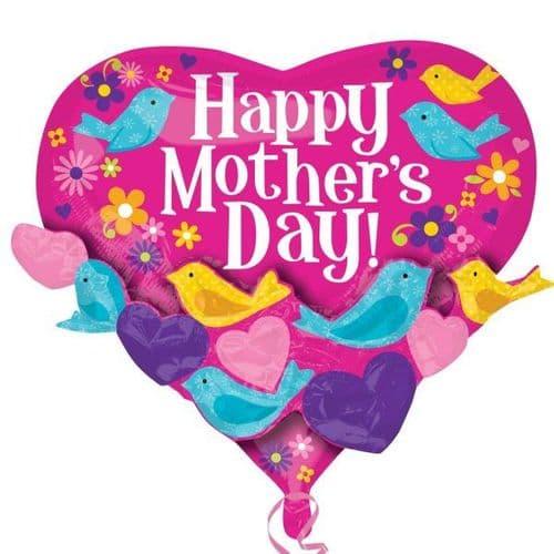 "Happy Mother's Day Bird Garland XL Foil Multi-Balloon 22"" x 20"""