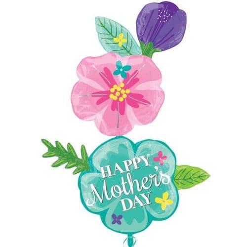 """Happy Mother's Day Fancy Flower XL Foil Mult-Balloon 40"""" x 56"""""""