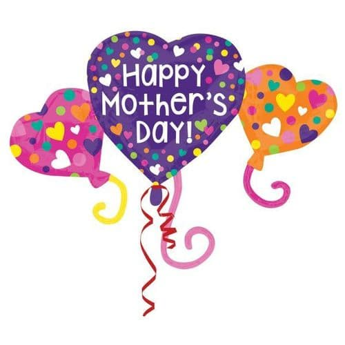 """Happy Mother's Day Heart Trio SuperShape XL Foil Balloon 38"""" x 27"""""""