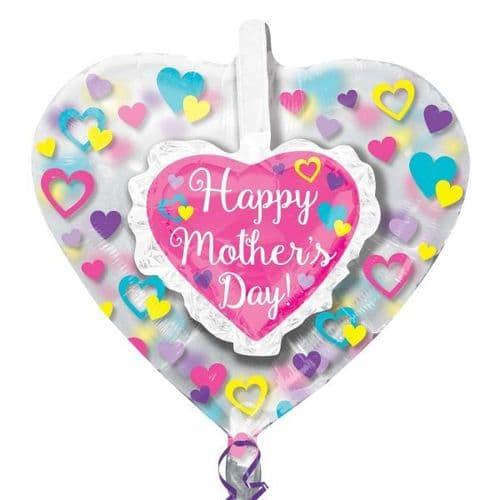 "Happy Mother's Day Ruffle Heart Insiders Foil Balloon 26"" x 26"""
