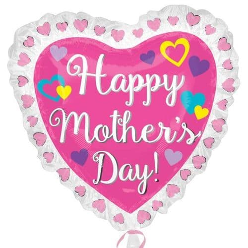 """Happy Mother's Day Ruffle Heart SuperShape XL Foil Balloon 28"""" x 28"""""""