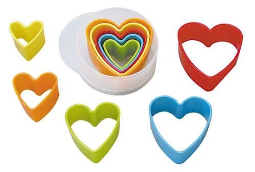 Heart Plastic Cutters Set Multi-Coloured