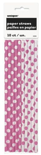 Hot Pink Dots Paper Straws 10pc