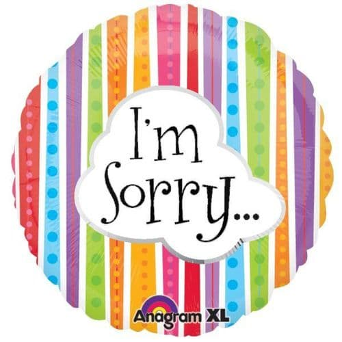 I'm Sorry Colourful Lines Foil Balloon
