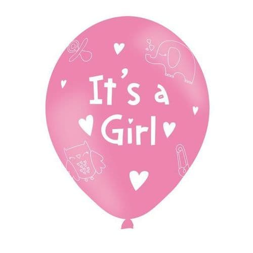 """It's A Girl Pink Latex Balloons Packet of 6 x 11"""""""