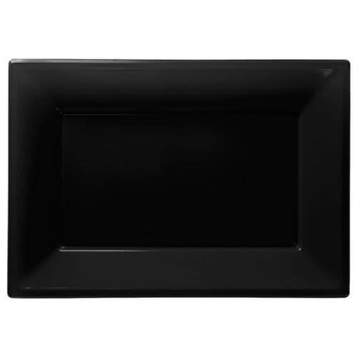 Jet Black Plastic Serving Platters pack of 3.