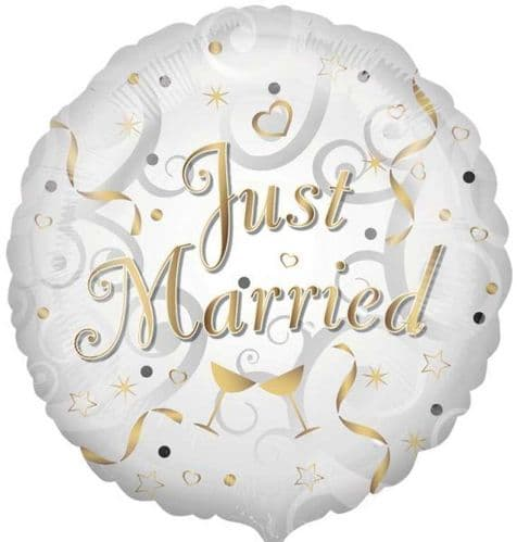 Just Married Circle Foil Balloon