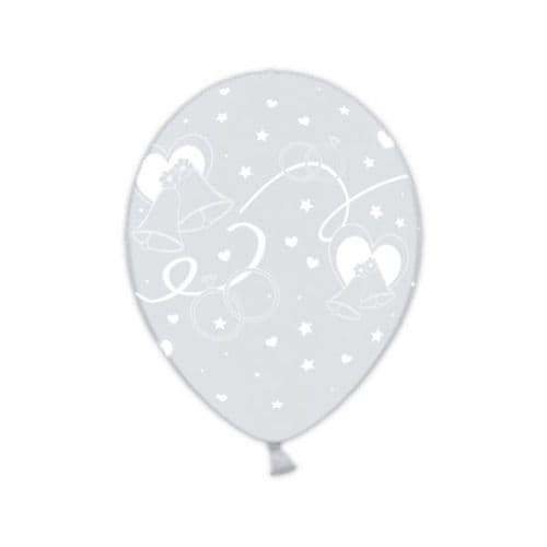 Just Married Classic Celebration Clear Printed Latex Balloons packet of 25