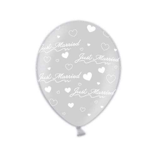 """Just Married Modern  Shimmering Silver Printed Latex Balloons 11"""" packet of 25"""