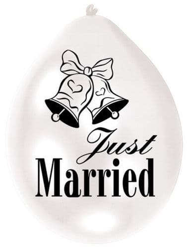 Just Married Pearl White Latex Balloons