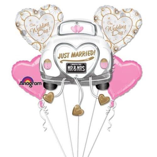 Just Married Wedding Car Foil Balloon Bouquet