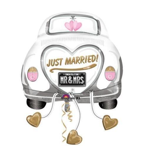 "Just Married Wedding Car SuperShape Foil Balloon 23"" x 31"""