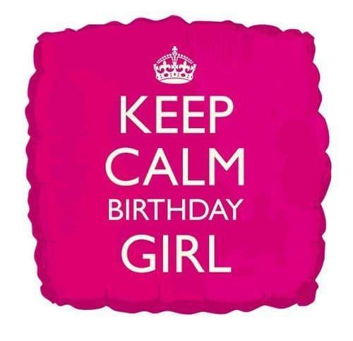 Keep Calm Birthday Girl Helium Foil Balloon