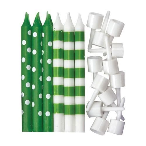 Kiwi Green Dots & Stripes Candles 12 per pack.