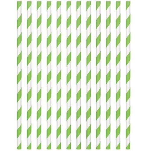 Kiwi Green Paper Straws 19cm pack of 24.